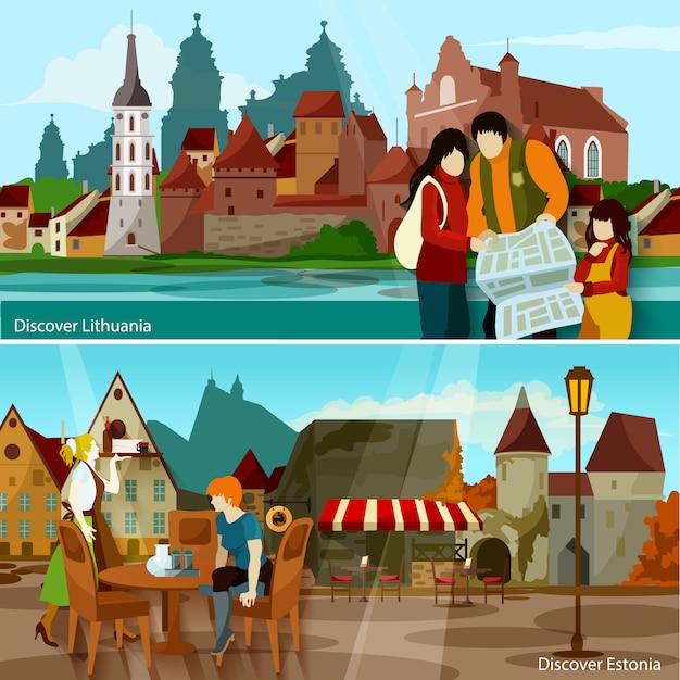 Europäische stadtlandschaften banner set Kostenlosen Vektoren