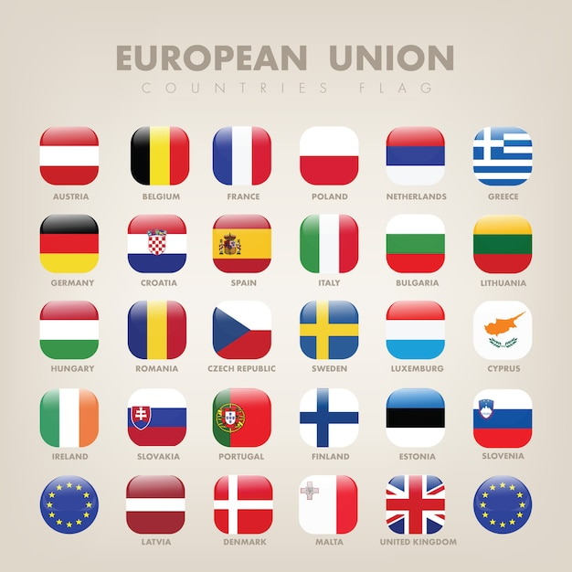 Europäische union square flag collection Premium Vektoren