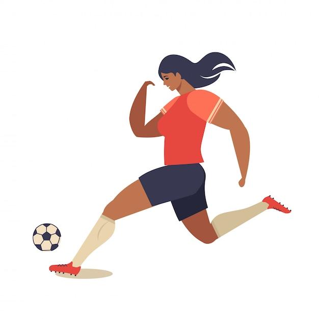 Europäischer fußball der frau, flache vektorillustration des fußballspielers. Premium Vektoren