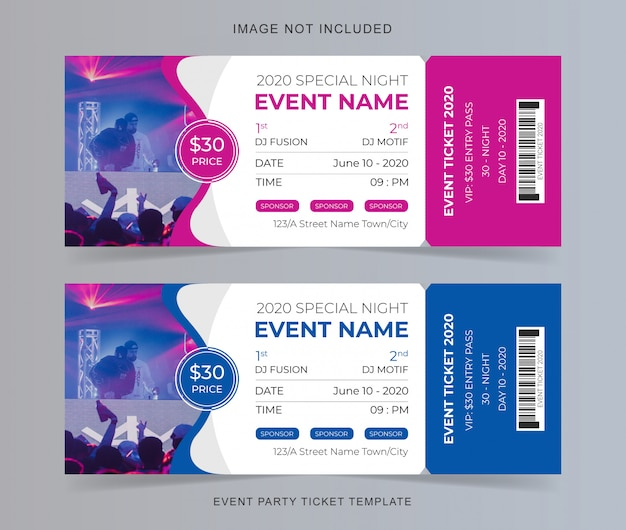 Event party ticket vorlage Premium Vektoren