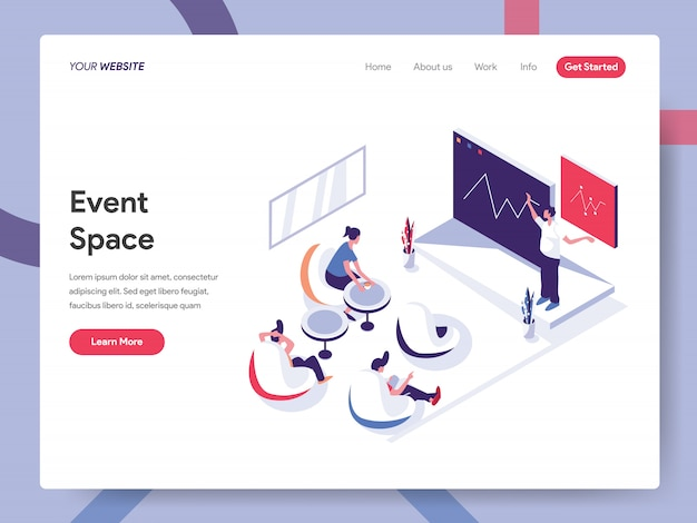 Event space banner konzept für website-seite Premium Vektoren