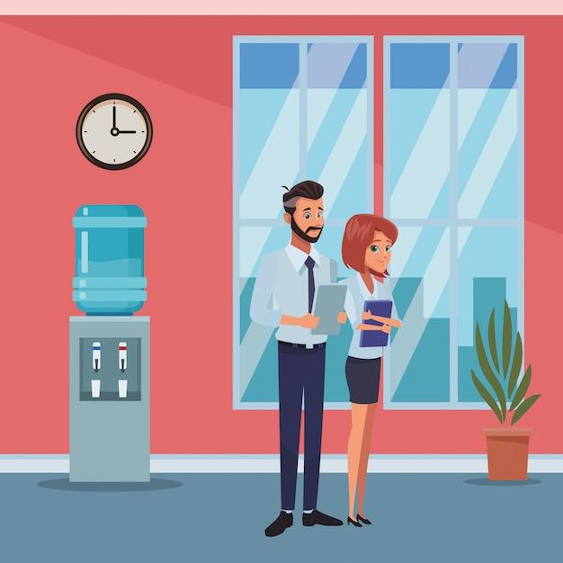 Executive business mitarbeiter cartoon Premium Vektoren