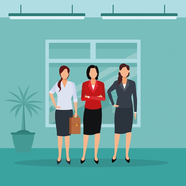 Exekutivfrauenkarikatur Premium Vektoren