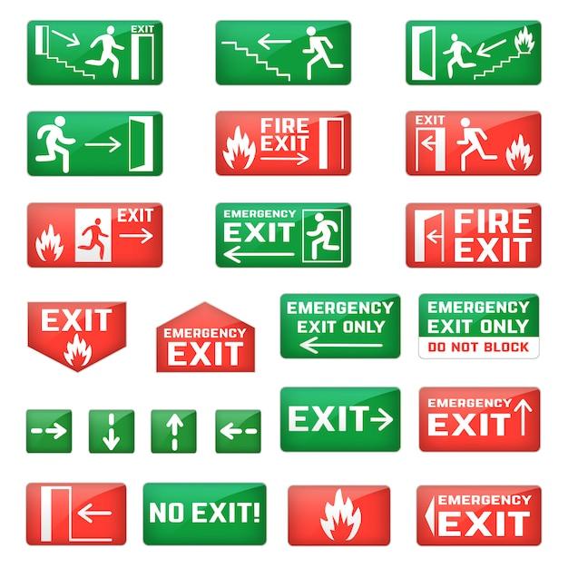 Exit-vektor-notausgangsschild und fluchtwegpunkt mit grünen pfeilen zur sicherheits-evakuierung und verlassen in schuppenillustrationssatz isoliert auf leerraum Premium Vektoren