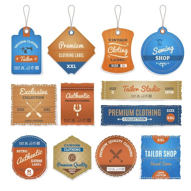 Exklusive bekleidungs-etiketten-set Kostenlosen Vektoren