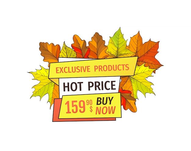 Exklusive herbstprodukte jetzt zum super hot price kaufen Premium Vektoren