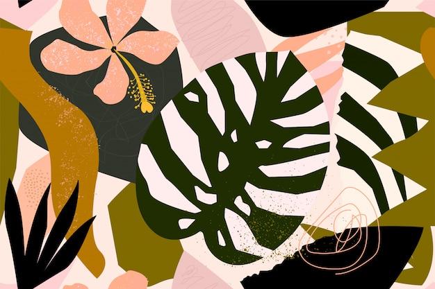 Exotische anlagen der abstrakten modernen tropischen paradiescollage und nahtloses muster der geometrischen formen. Premium Vektoren