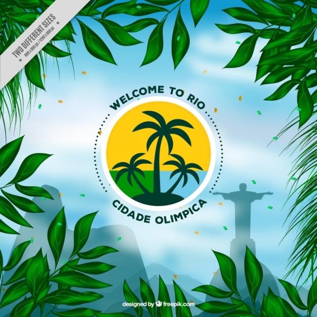 Exotische brasilien hintergrund der grünen blätter Kostenlosen Vektoren