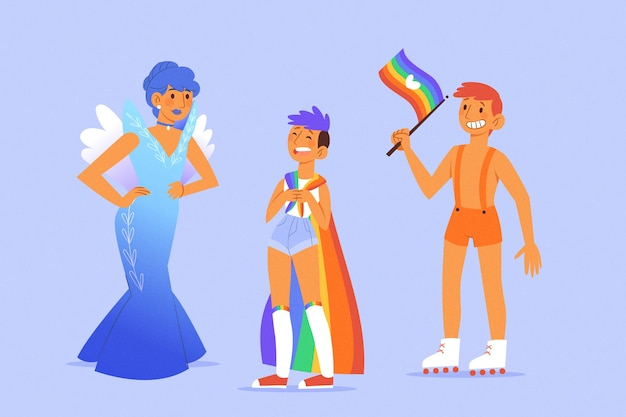Exotische kostüme sind stolz auf die menschen Kostenlosen Vektoren