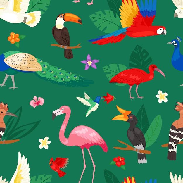 Exotischer papagei oder flamingo und pfau der tropischen vögel mit palmblättern illustrationssatz der mode birdie ibis oder hornbill in blühenden tropen hintergrund Premium Vektoren