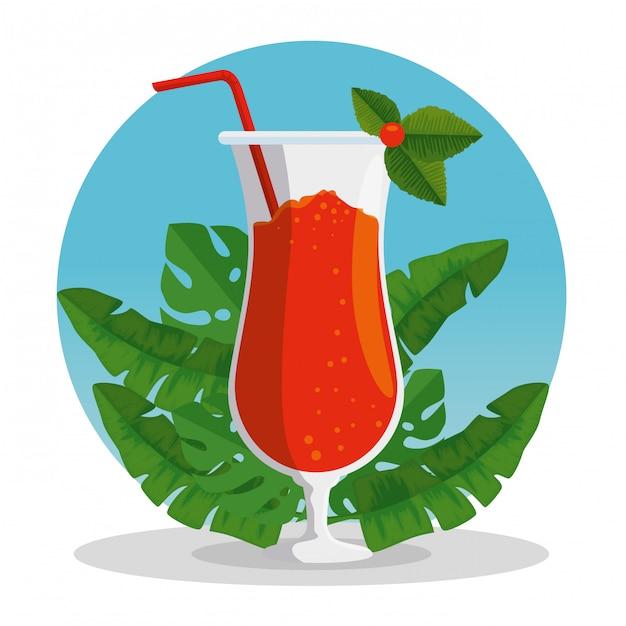 Exotisches cocktailgetränk mit tropischen blättern Kostenlosen Vektoren