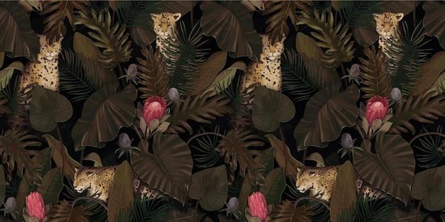 Exotisches tropisches muster mit leoparden in palmblättern mit proteablumen Premium Vektoren