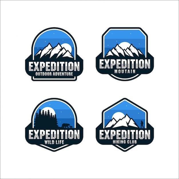 Expedition outdoor-abenteuersammlung logos Premium Vektoren