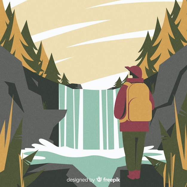 Explorer mit rucksack hintergrund Kostenlosen Vektoren