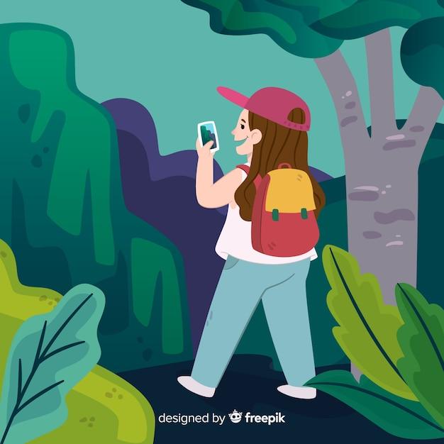 Explorer mit rucksack Kostenlosen Vektoren