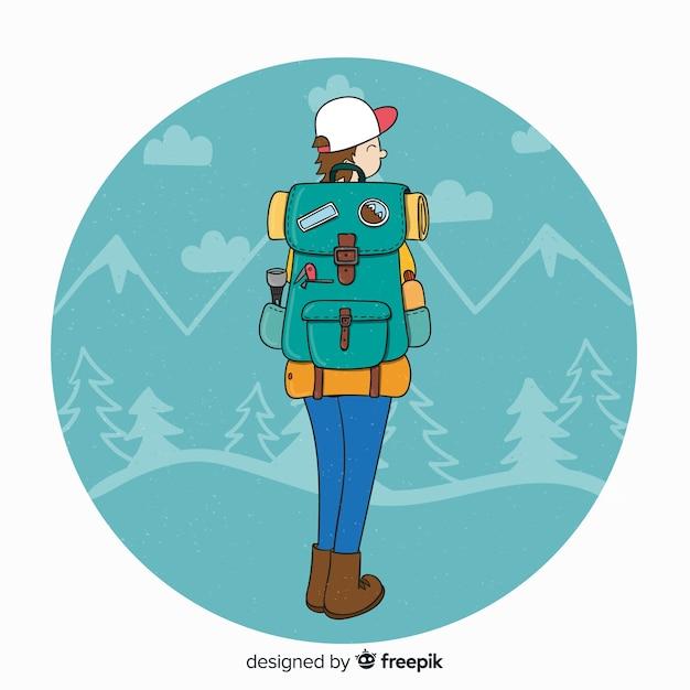 Explorer mit rucksackhintergrund Kostenlosen Vektoren