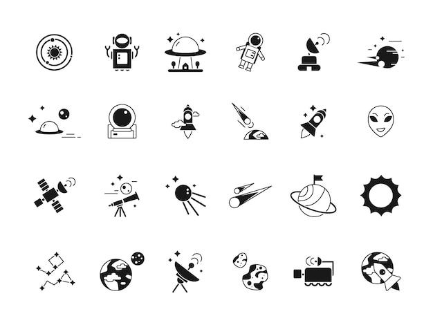 Explorer raum symbole. teleskop-shuttle-astronauten im mond und verschiedenen planeten satelliten. silhouetten von weltraumbildern Premium Vektoren