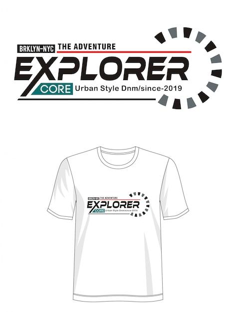 Explorer-typografie für druck-t-shirt Premium Vektoren