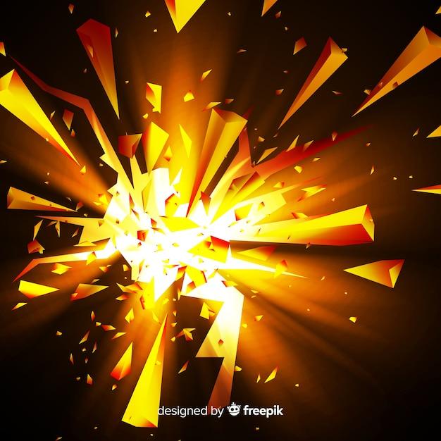 Explosion 3d mit hellem hintergrund Kostenlosen Vektoren