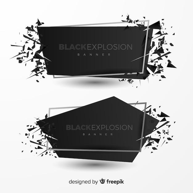 Explosion-banner-sammlung Kostenlosen Vektoren