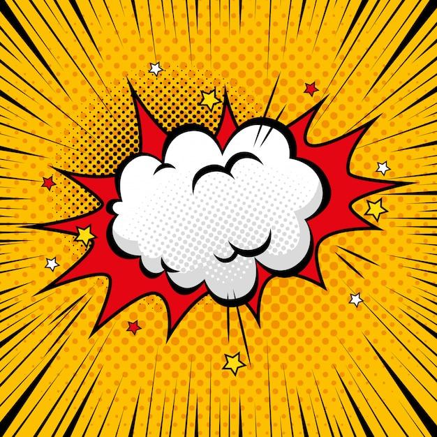 Explosion mit cloud-pop-art-stilen Premium Vektoren