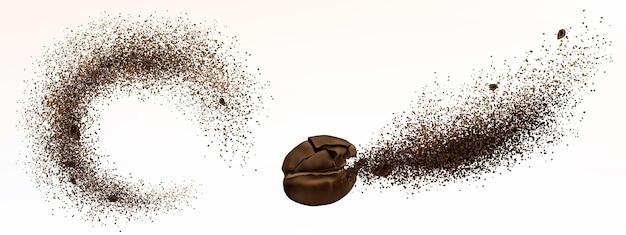 Explosion von kaffeebohne und pulver lokalisiert auf weißem hintergrund. realistische illustration von zerkleinertem geröstetem gemahlenem kaffee und ausbruch von arabica-getreide mit einem spritzer braunen staubes Kostenlosen Vektoren