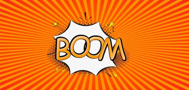 Explosionen der comic-karikaturillustration. comics boom! symbol, aufkleber, sonderangebot, werbeabzeichen. banner unterschreiben. comics rede bubble bang. wolken für explosionen wie boom. pop-art Premium Vektoren