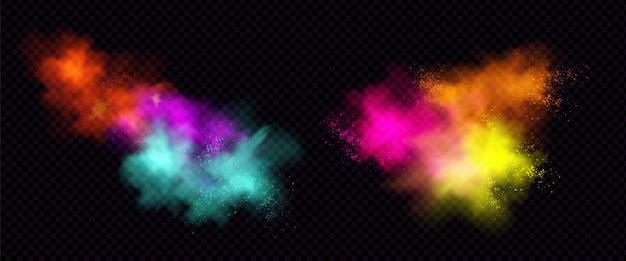 Explosionen von farbpulver oder staub mit partikeln. Kostenlosen Vektoren