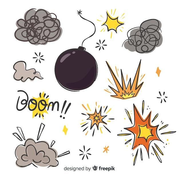 Explosionseffekt sammlung cartoon-design Kostenlosen Vektoren