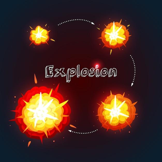 Explosionskarikaturdesign eingestellt mit prozess der explosion Kostenlosen Vektoren