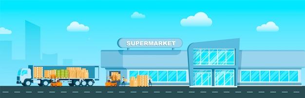 Express truck lieferung von waren an den supermarkt Premium Vektoren