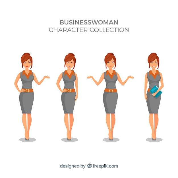 Expressive Geschäftsfrau Charaktersammlung Kostenlose Vektoren