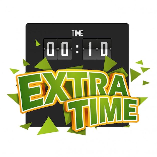 Extratime fußballvektorillustration mit anzeigetafel Premium Vektoren