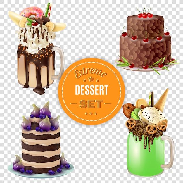 Extreme dessert combos transparent set Kostenlosen Vektoren
