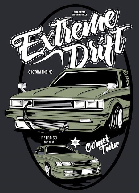 Extreme drift, illustration des klassischen rennwagens Premium Vektoren