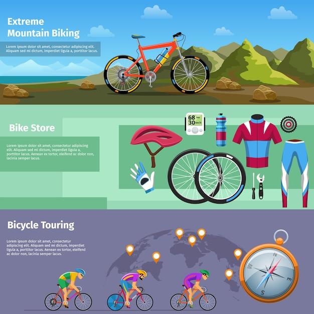 Extreme mountainbiken, fahrradladen, fahrradtouren banner gesetzt. outdoor und kompass, shop und radfahrer. vektorillustration Kostenlosen Vektoren