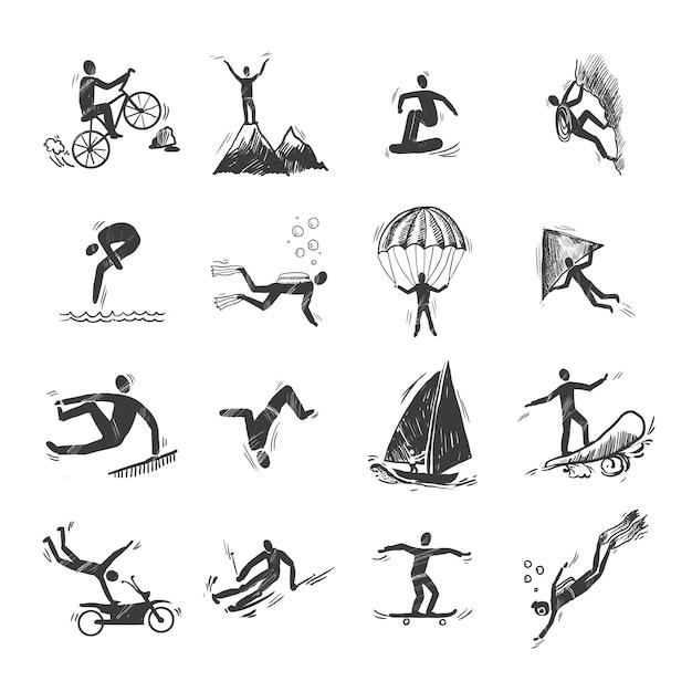 Extreme sport-ikonen skizze des tauchens klettern segeln isoliert doodle vektor-illustration Kostenlosen Vektoren