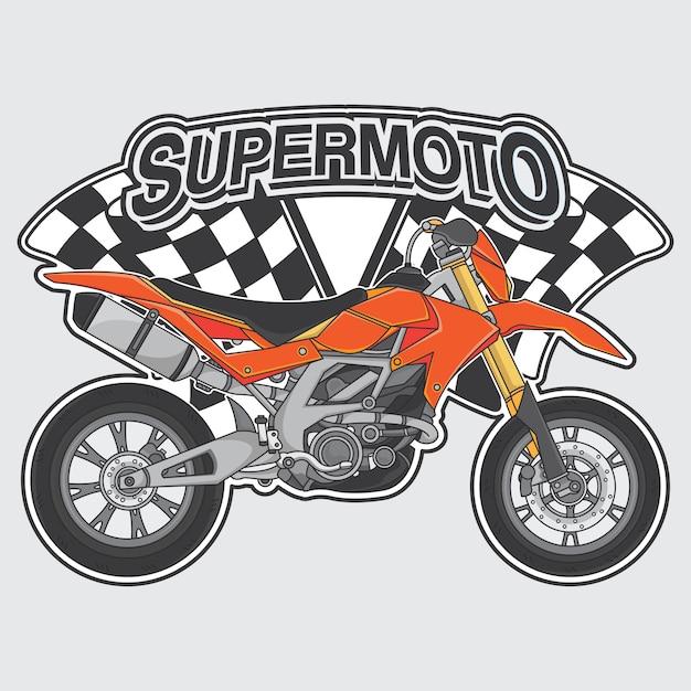 Extreme supermoto-design-logo-konzept Premium Vektoren