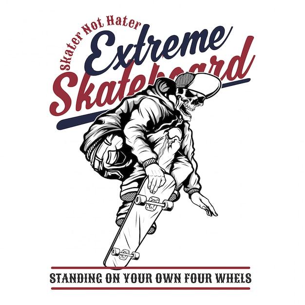 Extremes skateboard des schädels, handzeichnung Premium Vektoren