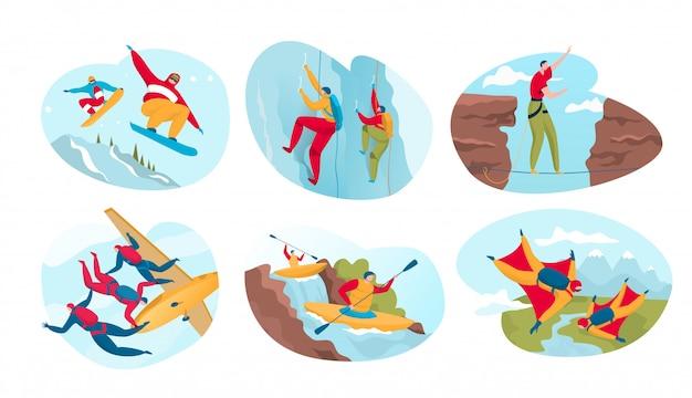 Extremsport für aktive menschen, gefährliche outdoor-abenteuer, illustration Premium Vektoren