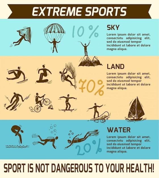 Extremsport infografik Premium Vektoren