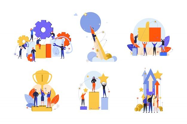 Exzellenz, erfolg, motivation, leistung, zufriedenheit, gewinn, innovationsset-konzept Premium Vektoren