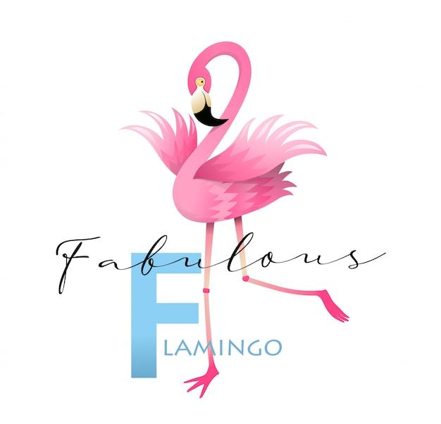 F steht für flamingo alphabet teaching english card Premium Vektoren