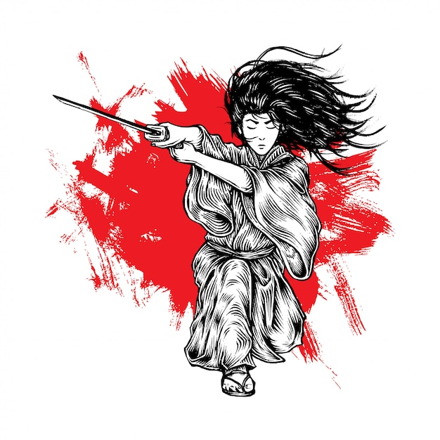 Fabolous long hair samurai attack mit seinem katana Premium Vektoren
