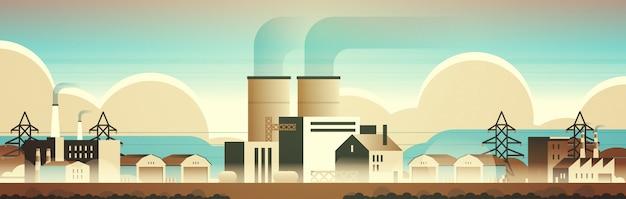 Fabrik fertigungsgebäude industriegebiet anlagen mit rohren und kaminen Premium Vektoren