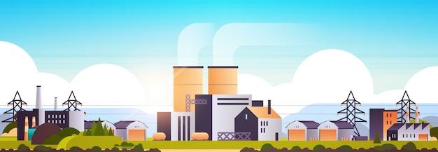 Fabrik fertigungsgebäude industriegebiet anlagen mit rohren Premium Vektoren