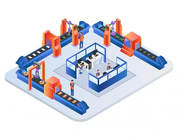 Fabrik-förderband. roboterarme, die waren verpacken Premium Vektoren