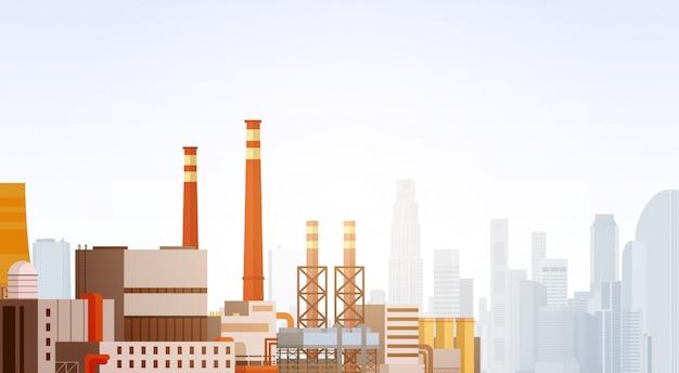 Fabrik-gebäude-naturverschmutzungs-betriebs-rohr-abfall-fahne Premium Vektoren