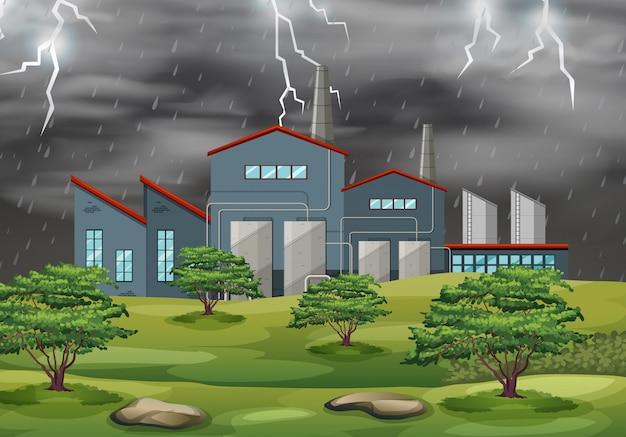 Fabrik im wettersturm Kostenlosen Vektoren