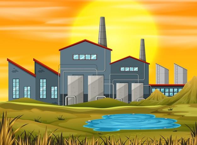Fabrik in der sonnenuntergangszene Kostenlosen Vektoren